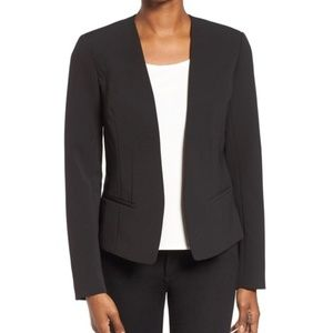 HALOGEN Open Front Black Blazer Jacket MEDIUM EUC